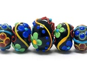 ON SALE 35% OFF Handmade Glass Lampwork Bead Set - Five Graduated Black Based Fiesta Rondelle Beads 10201211