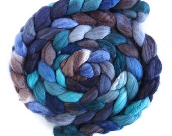 Merino/ Superwash Merino/ Silk Roving (Top) - Handpainted Spinning or Felting Fiber, Waning Light