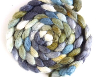 Blueface Leicester/ Tussah Silk Roving (Top) - Handpainted Spinning or Felting Fiber,  Broken Pavement