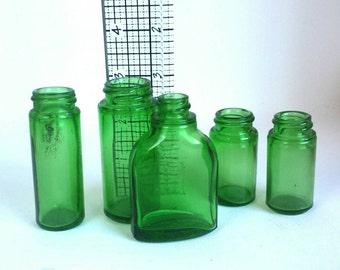 Vintage Emerald Green Bottle Lot