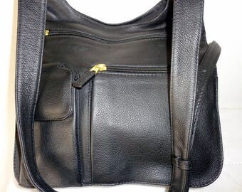 J P Ourse and Cie messenger bag ,cross body bag, purse,shoulder tote, bag organizer, black buttery leather vintage N MINT condition