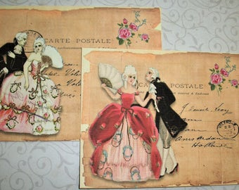 ROMANTIC COUPLES - Choice of Gift Tags or Notecards - Victorian, Romantic - Set of 8 - RCT 5623