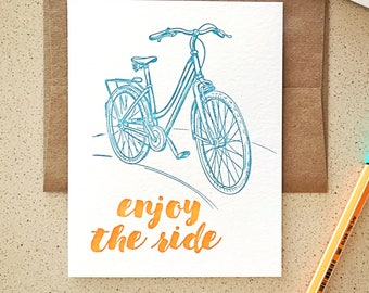 Enjoy the Ride Bicycle letterpress card