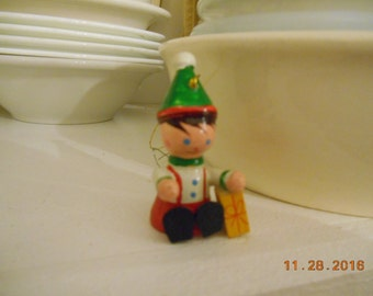 Vintage Wooden Painted Boy with Present Christmas Ornament