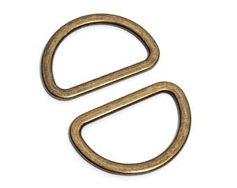 "50pcs - 1 1/2"" (38mm) Flat Zinc D-Ring - Antique Brass - (FDR-118) - Free Shipping"