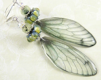 Magical Gossamer Wings Earrings, Handcrafted Nature Jewellery, Woodland, Pale Green Cicada Wings, Artisan Lampwork Glass, Prehenite