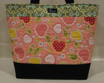 Teacher Gift, Teacher Tote Bag, Apple Tote, Large Tote, Quilted Tote, Apple for Teacher