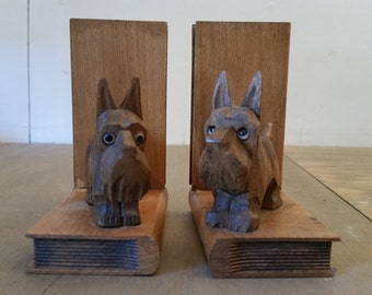 Vintage Handmade Carved Wood Scotty Dog Bookends to Hold Your Favorite Books