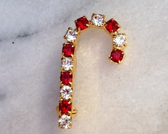 Vintage Rhinestone Small Brooch Candy Cane Peppermint Stick Christmas