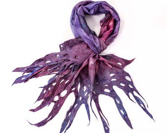 Silk Scarf| Wool Scarf| Hand Painted| unique scarf| Wool scarf |Womens scarf |  Kate Ramsey | felted scarf | felt scarf | silk felt scarf