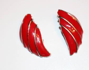 Red Enamel Silver Earrings