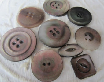 Vintage Buttons - Amazing mother of pearl, 9 assorted carved designs, (jan 51-17)