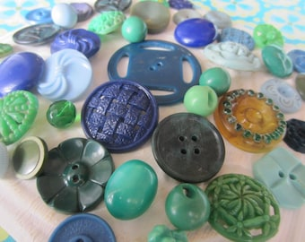 Vintage Buttons - Cottage chic mix of blue, and green lot of 50 old and sweet(jan 154-17)