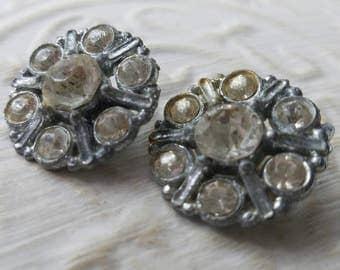 Vintage Buttons - 2 beautiful  matching  flower design rhinestone embellished, silver finish metal (mar 388 17