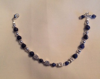 Semi-Precious/Sterling Personalized Bracelet