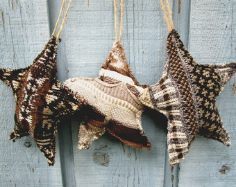 Rustic Folk Star Christmas Ornaments// Recycled Sweater// Set of 3// Recycled Reclaimed Repurposed Holiday Decorations// emmevieille
