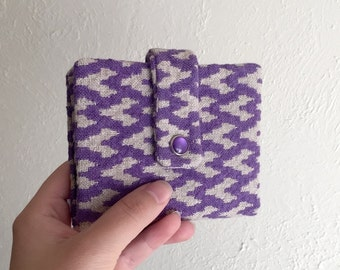 Pretty Upcycled Purple Wallet - Midsize Cash and Card Wallet with Change pouch