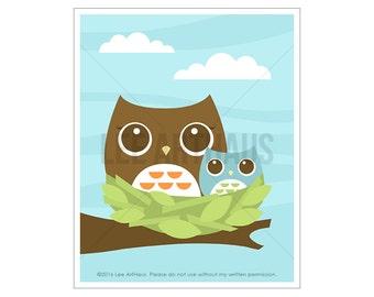 7A Owl Nursery Art - Owl Family in Nest Wall Art - Woodland Owl Nursery Print - Baby Owl Wall Art - Art for Children - Woodland Animal Art