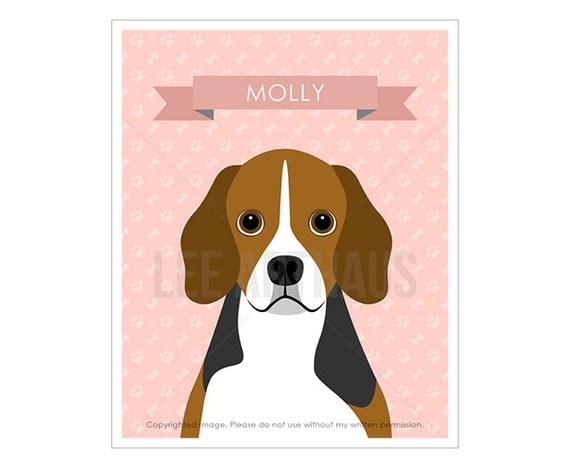 12N Dog Prints - Personalized Beagle Wall Art - Beagle Illustration - Custom Pet Portrait - Customized Name Prints - Dog Lover's Gift Idea