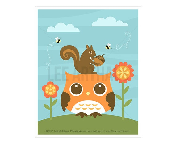 84A Owl Print - Owl and Two Flowers Wall Art - Baby Girl Nursery Wall Decor - Woodland Baby Shower - Owl Nursery Art - Girl Bedroom Decor