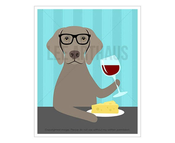 261D Dog Prints - Weimaraner Drinking Wine Wall Art - Weimaraner Print - Cheese and Wine Art - Dog Drinking Wine Print - Funny Dog Art