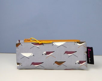 Waterproof lined case in Charley Harper fabric, Cosmetic purse with waterproof lining, Pencil case, Unique make-up bag in bird fabric