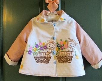 Size 3 Vintage Embroidered Kitten Coat Jacket