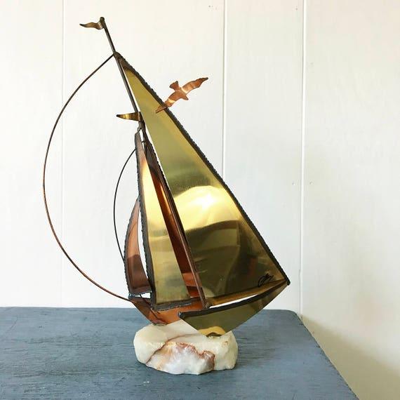 vintage sailboat sculpture - brass copper metal art - Curtis Jere style - nautical beach house decor