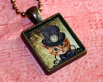 Steampunk Kitty Resin Necklace - Resin Pendant