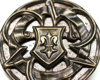 """Fleur-de Lys Antique BUTTON, XL Victorian trefoil with dark tint, 1 1/2""""."""
