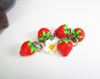 Strawberry Stitch Markers Set of 5, knitting accessories, knit, fruit food charms, gift for knitters, polymer clay, strawberry charms, cute