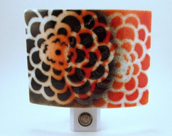 Fused Glass Zinnia Flower Pattern Contemporary Red and Black Rectangular LED Night Light