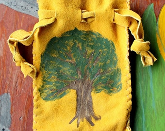Gold deerskin suede leather drawstring pouch with painted oak tree bag for tarot runes dice