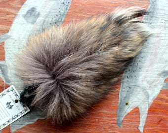 Tanuki tail - real eco-friendly tanuki fur tail on extra strong braided leather belt loop for totem ritual and dance Finn raccoon TK01