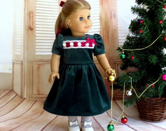 Green Velvet Christmas Dress with Ribbon and Lace, Lace Stockings, Hair Ribbon, 18 inch Doll Clothes Holiday Outfit