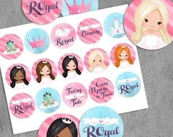 Printable Princess Birthday Stickers, Watercolor pink princess cupcake toppers, princess printables, round stickers, fairy tale, frog prince
