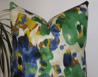 """Landsmeer in Ultramarine Pillow Cover - Lumbar Robert Allen Cover - Designer Pillow Cover 18""""x18"""""""