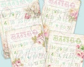 SALE SHABBY CHiC Bingo Cards Collage Digital Images -printable download file-