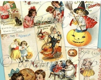 SALE VINTAGE HALLOWEEN Collage Digital Images -printable download  file-