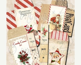 SALE CHRISTMAS ENVELOPES Collage Digital Images -printable download file Scrapbook Printable Sheet