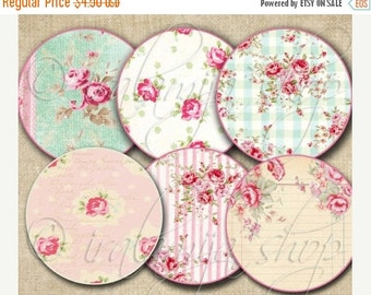 SALE SHABBY CIRCLES  Collage Digital Images -printable download file Digital Collage Sheet Vintage Paper Scrapbook