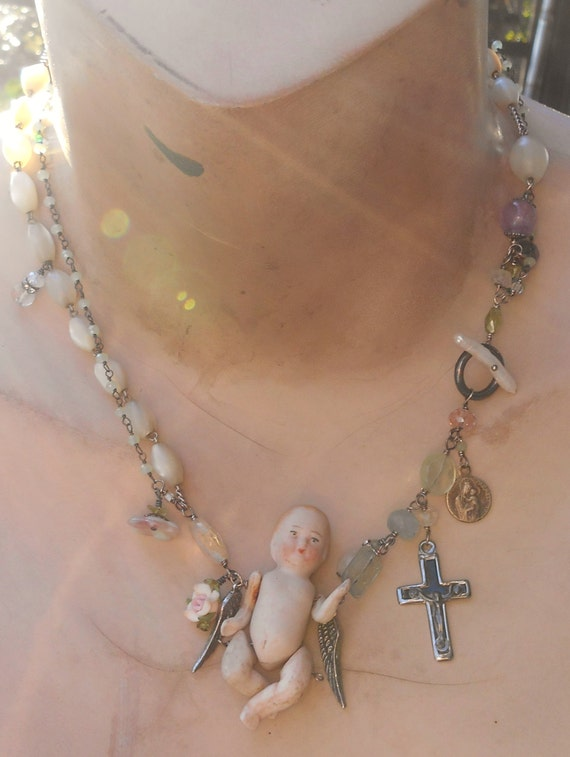 Be My Little Baby Antique Doll Antique MOP Rosary Gemstones Necklace