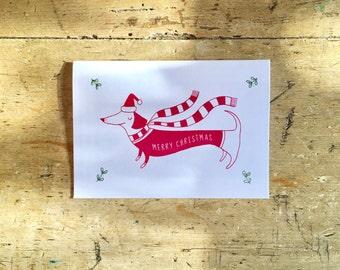 Merry Christmas Sausage Dog Card