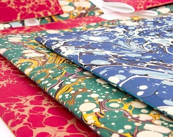 Marbled Notebook: Blue Floral pattern with Mohawk Superfine pages. Contemporary, modern Jotter, Journal. Made in UK, Ships worldwide.