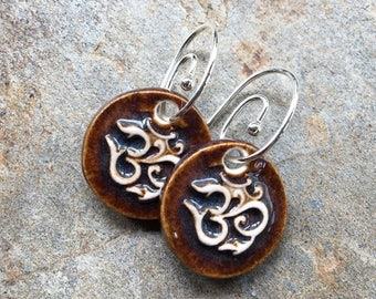 Brown Ceramic OM Earrings