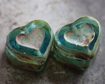 AQUA THUMPER .. 4 Premium Picasso Czech Heart Beads 14x12mm (5674-4)