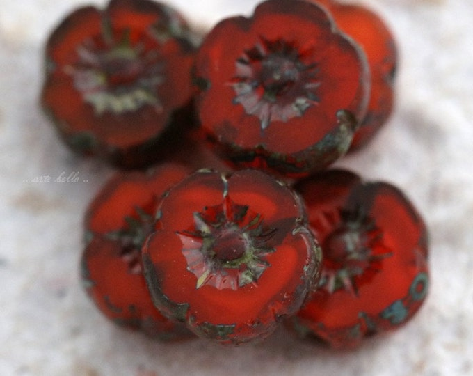PERSIMMON PANSY No. 2 .. 6 Picasso Czech Glass Flower Beads 8mm (5560-6)