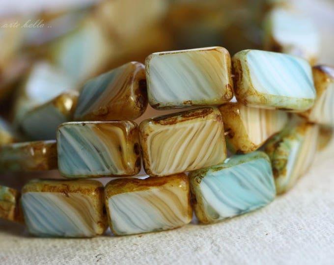 SANDY BEACH No. 2 .. 15 Picasso Czech Glass Rectangle Beads 12x8mm (B1027-st)