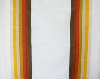 Rare Vintage 70s Brown Double Rainbow Striped Flat Bed Sheet NIP Autumn Harvest Bedding Wamsutta Full Queen