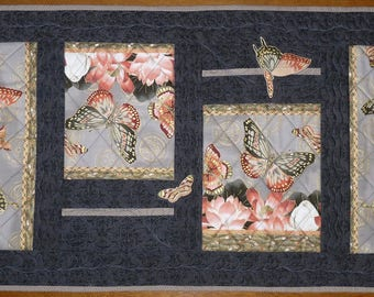 Table Runner, Butterflies, Black, Gold, Quilted